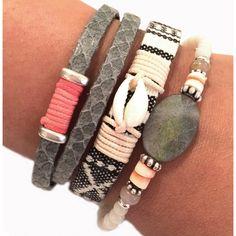 armband grijs met schelp