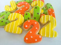 Number Letter Cookies~        Mini Sugar Cookies - 2 Dozen, by A Cookie Jar on Etsy, Orange, Yellow, green