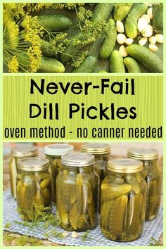 Easy Dill Pickles - these pickles never fail. Process them in the oven for easy, crisp pickles to make with no canner. Oven Canning, Canning Tips, Canning Recipes, Raw Food Recipes, Vegetable Recipes, Pressure Canning, Dill Carrots, Pickled Carrots, Pickled Garlic
