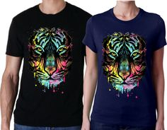 Trendy neon tiger shirt/blacklight tiger men's or women's T-Shirt features a tiger head in multiple dripping neon colors.