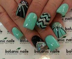 Rhinestone teal black fancy nails