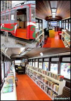 Now that's a bookmobile World Library, Dream Library, Clementine Book, Bookstore Design, Living In Brazil, Mobile Library, Shop Facade, School Bus Conversion, Mobile Business