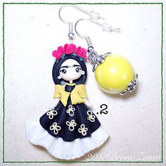Orecchini-Frida-Kahlo-Cute-Earrings-Fimo-Polymer-Clay-Kawaii-Chibi-Mexican