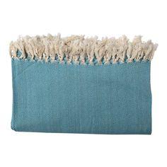 Plaid turquoise van katoen. Sprei in XL maat voor op je tweepersoonsbed. Deze sprei wordt gratis verzonden.