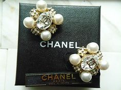 Chanel  Earrings with Faux Pearls and White Enamel in Gold Tone