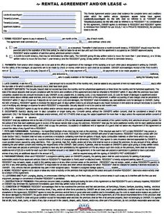 Rental Application Template   Rental Agreement