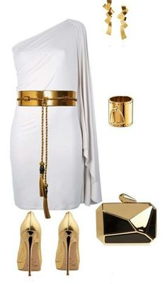 I have a dress like this and I accessorized it with Gold, too! Caute.