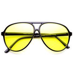 9a9d73d8ed Retro 80 s Style Driving Lens XL Large Plastic Aviator Sunglasses   sunglasses Yellow Lens Sunglasses