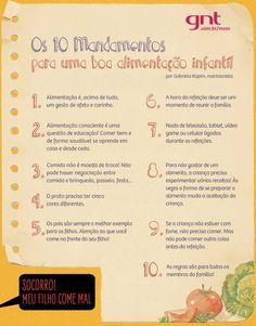 10 Mandamentos para uma boa alimentação infantil