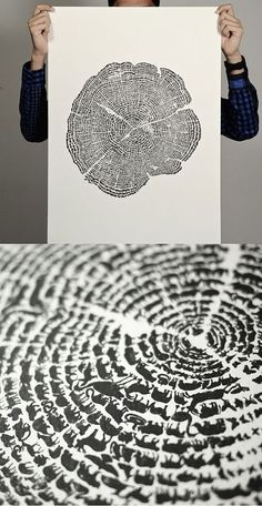 Wow, the tree rings are made up of animal silhouettes. That is cool.