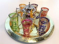 Tea Glasses & Teapot Hammered Brass Tray Artisan Made in Morocco Set 6 Pieces Moroccan http://www.amazon.com/dp/B00MX9Y4NK/ref=cm_sw_r_pi_dp_Rqqyub1500PB5