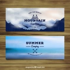Adventure banners with mountains and summer landscape
