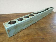 Large Sugar Mold Candleholder-Pure Mint- #1-Old Mexican-Rustic-Wood-Sugarmolds-Primitive-Wooden-39.5 in. Long-12 Hole by RanchoAdobe on Etsy