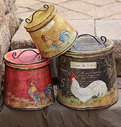 French Country Farmhouse Chic Set 3 Hen Rooster Chicken Canister Tin With Lid… Rooster Kitchen Decor, Rooster Decor, Primitive Kitchen, Country Primitive, Primitive Decor, Primitive Curtains, Primitive Christmas, French Country Kitchens, French Country Style