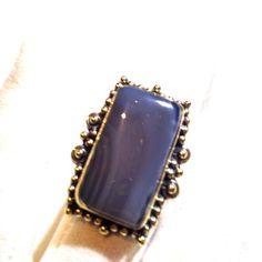Vintage Tribal Genuine Lace Agate Stone Adjustable Brass Knuckle Ring