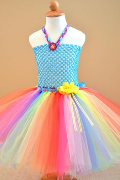 Kids girls Rainbow Tutu Dress with flower bows and ribbon birthday special occasion event colorful play by 1583Designs, $52.99