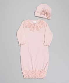 Look at this Tesa Babe Pale Mauve Rhinestone Flower Gown & Beanie on #zulily today!