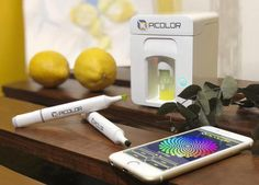 Picolor Magic Box  Picolor is a mini cube box, with five different colors of pigments, including green, magenta, yellow, black and white, it can Make the color of the pigment you need through special mechanisms and algorithms.   #Picolor