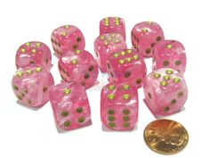 Holiday-16mm-D6-Chessex-Dice-Block-12-Dice-Easter-Pink-with-Gold-Pips