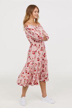 Off-the-shoulder Dress - Antique rose/floral - Ladies   H&M US 1 - $40