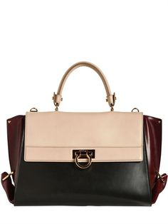 SALVATORE FERRAGAMO - LARGE SOFIA TRICOLORED LEATHER BAG - LUISAVIAROMA - LUXURY SHOPPING WORLDWIDE SHIPPING - FLORENCE