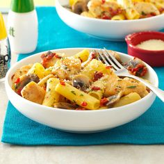 Garlic Chicken Rigatoni  Recipe -In New Mexico we adore big flavors from ingredients like garlic and sun-dried tomatoes. Here's a punchy chicken and mushroom pasta that's a family standard. Judy Crawford, Deming, New Mexico