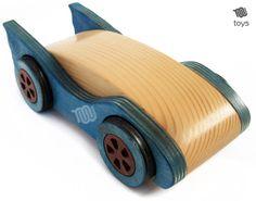Wood Blue Bat Car - natural toy handmade