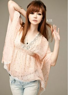 Sweet Rhinestone Butterfly Sleeve Floral Print Pink Chiffon T-shirts For Women on sale only US$14.47