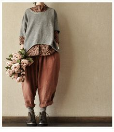 Image of Orange Turnip Pants Casual Linen Long Pants Big Pocket Loose Pants -- Women Clothing