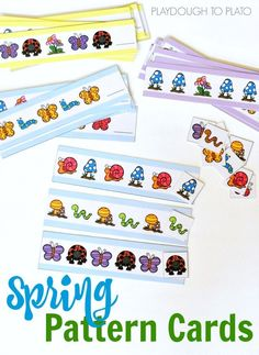 Spring Pattern Cards for Preschool and Kindergarten! Great math center or activity for a bug unit.