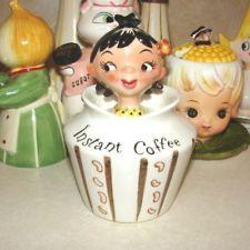 Vintage Lefton ESD Island Girl Instant Coffee Pixie Jar w Spoon Holt Howard Era