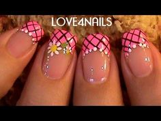 How to paint a Daisy Flower ~ Nail Art Design Tutorial French Nails, Cute Nails, Pretty Nails, Sunflower Nail Art, Funky Nail Art, Finger, Nails Only, Nail Candy, Fabulous Nails