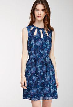 Cutout Watercolor Print Dress | FOREVER21 - 2000099178