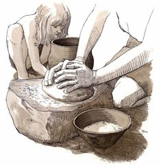 Grutning Tragtbægerkultur Frau mit Mahlstein Trichterbecker-Kultur Woman with grinding mill Funnel Beaker Culture Aarhus, Indigenous Tribes, Stone Age, Dark Ages, Ancient History, Archaeology, Period, Painting, Historical Illustrations