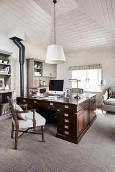 100 Charming Farmhouse Decor Ideas for Your Home Office - The pyramid-like white plank walls play extraordinarily with the double joint hardwood office desk and old-age stove transformed into a book shelf and cabinet space. Interior Design Business, Home Office Design, Home Office Decor, Office Desk, Home Decor, Attic Office, Office Floor, Office Inspo, Office Chic