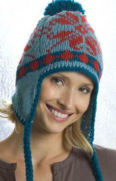 Ear Flap Hat Free Knitting Pattern from Red Heart Yarns Knitting Patterns Free, Knit Patterns, Free Knitting, Free Pattern, Double Knitting, Knit Crochet, Crochet Hats, Flap Hat, Winter Hats For Women
