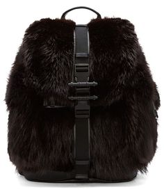 Structured beaver fur and leather backpack in brown and black. Patch pockets and grosgrain pinch-buckle straps at front and sides. Carry handle at top. Givenchy Clothing, Amazing Store, Fur Accessories, Fur Bag, Black Leather Backpack, Small Leather Goods, Leather Material, Back To Black, Grosgrain