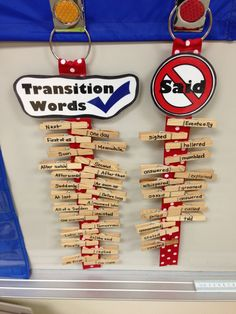 "writing clips ... so clever & easy! write common transition words & alternatives for ""said"" on clothespins and hang in writing center!"