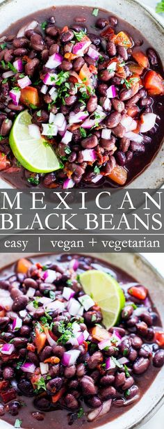 Quick and always reliable Mexican Black Beans are super easy to make! A delicious side dish for those tacos enchiladas or for burrito bowls this Mexican black beans recipe comes together with ease! This recipe is vegetarian vegan gluten free Mexican Beans Recipe, Mexican Black Beans, Vegan Mexican Recipes, Vegetarian Recipes, Healthy Recipes, Vegan Black Bean Recipes, Fast Recipes, Mexican Style, Recetas Puertorriqueñas