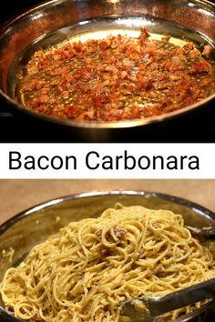 Cream Cheese Spaghetti, Bacon Pasta Recipes, Tortellini Alfredo, Bacon Carbonara, Pork Cheeks, Best Bacon, Italian Pasta, Easy Weeknight Dinners, Pasta Dishes