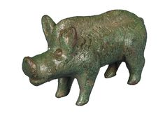 Late Iron Age or very early Roman bronze figurine of a boar.  The boar was an important symbol in both Celtic and Classical mythology, and is known on the Lincolnshire Witham shield and on silver Iron Age coinage.  This realistic free-standing statuette was probably made as a votive offering.  Found at Rothwell Top.