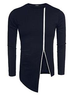 696f74bb6b70 Coofandy Men s Shirts Casual Zipper Shirt Irregular Long Sleeve T Shirt