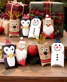 Spruce up a gift card before giving it away with this set of 8 holders. The holders are embellished with pipe cleaners, cotton balls and googly eyes to resemble Christmas characters. The pillow box design opens easily to allow a gift card or other small Christmas Gift Wrapping, Christmas Crafts For Kids, Diy Christmas Gifts, Holiday Crafts, Christmas Decorations, Christmas Ornaments, Christmas Cards, Christmas Labels, Christmas Invitations