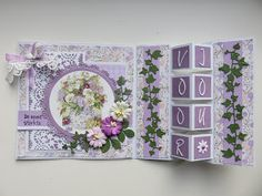 Frosien`s kaarten Fun Fold Cards, Cute Cards, Marianne Design Cards, Punch Art Cards, Purple Cards, Handmade Envelopes, Spellbinders Cards, Happy Birthday Cards, Flower Cards
