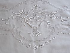 Em's Heart Antique Linens -Antique Embroidered Linen Appenzell Tablecloth
