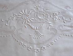 Em's Heart Antique Linens -Antique Embroidered Linen Appenzell Tablecloth