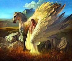 Girl and Pegasus by RHADS on DeviantArt fantasy, horse, angel Fantasy Artwork, Magical Creatures, Fantasy Creatures, Winged Horse, Mythological Creatures, Angel Art, Horse Art, Fantasy World, Fairy Tales