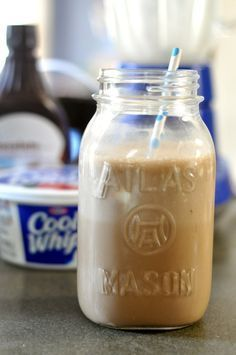 Mocha iced coffee w/ #coolwhip... could make a lighter version with light cool whip and splenda?? for less guilt ;)