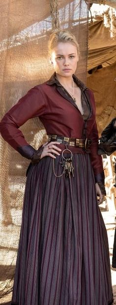 Black Sails - i really like the long skirt, fitted jacket, and thick belt combos worn by Elenore Guthrie in this series