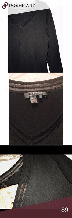 Mesh Neckline V Neck Silk Blend 3/4 sleeves. Only tried on, never worn. 86% Silk, 12% Nylon, 2% Spandex Lauren Ralph Lauren Tops Tees - Long Sleeve